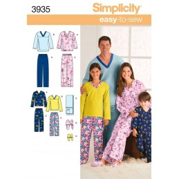 Easy To Sew Child And Adult Loungewear Simplicity Fabric Sewing Patterns 3935