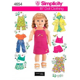 Simplicity 18 Inch Doll Clothes Craft Sewing Patterns 4654