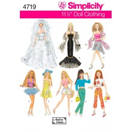 "Simplicity Sewing Pattern 4719 Various Doll Clothes for 11.5"" Fashion Dolls Toys"
