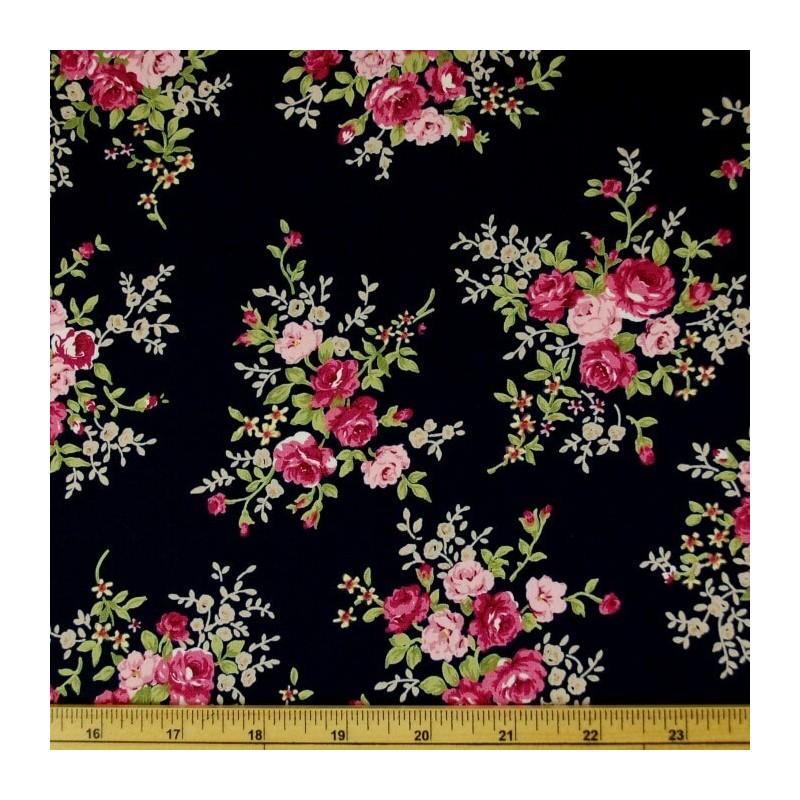Black 100% Cotton Poplin Fabric Rose & Hubble Steve's Rosebush Garden Roses Floral