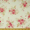 Ivory 100% Cotton Poplin Fabric Rose & Hubble Steve's Rosebush Garden Roses Floral