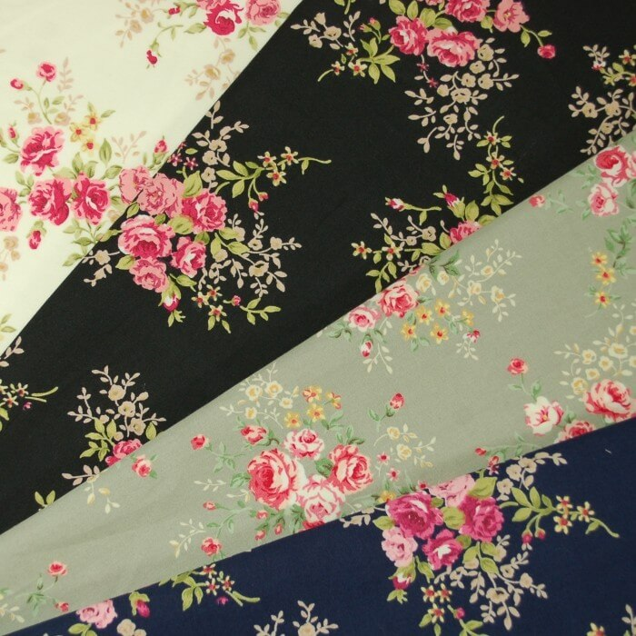 Black 100% Cotton Poplin Fabric Rose & Hubble Steve's Rosebush Garden Roses Floral