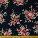 Navy 100% Cotton Poplin Fabric Rose & Hubble Steve's Rosebush Garden Roses Floral