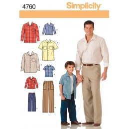Boys and Men Shirts and Pants Simplicity Fabric Sewing Patterns 4760