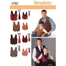 Simplicity Fabric Sewing Patterns 4762 Boys and Men Vests and Ties
