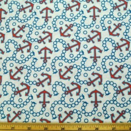 Sail Away Anchors And Chains 100% Cotton Fabric