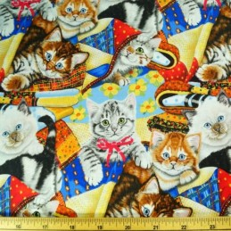 Playful Kittens In Blankets 100% Cotton Fabric