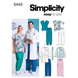 Simplicity Sewing Pattern 5443 Misses' & Men's and Plus Size Scrubs