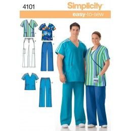 Misses' & Men's Plus Size Scrubs Lounge Wear Fabric Sewing Patterns 4101
