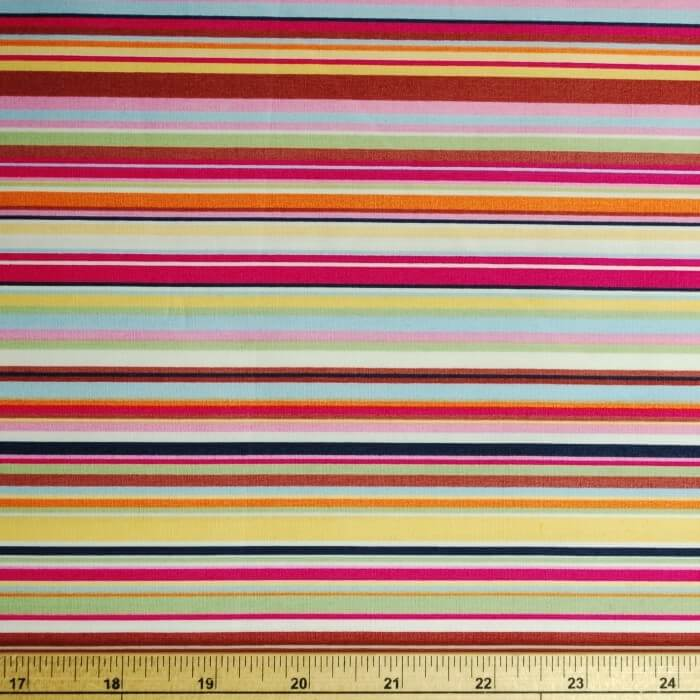 Col.2 Pink Yellow 100% Cotton Poplin Fabric Rose & Hubble Rainbow Stripes
