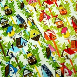 Birds And Bird Houses Birdhouse In Trees 100% Cotton Fabric