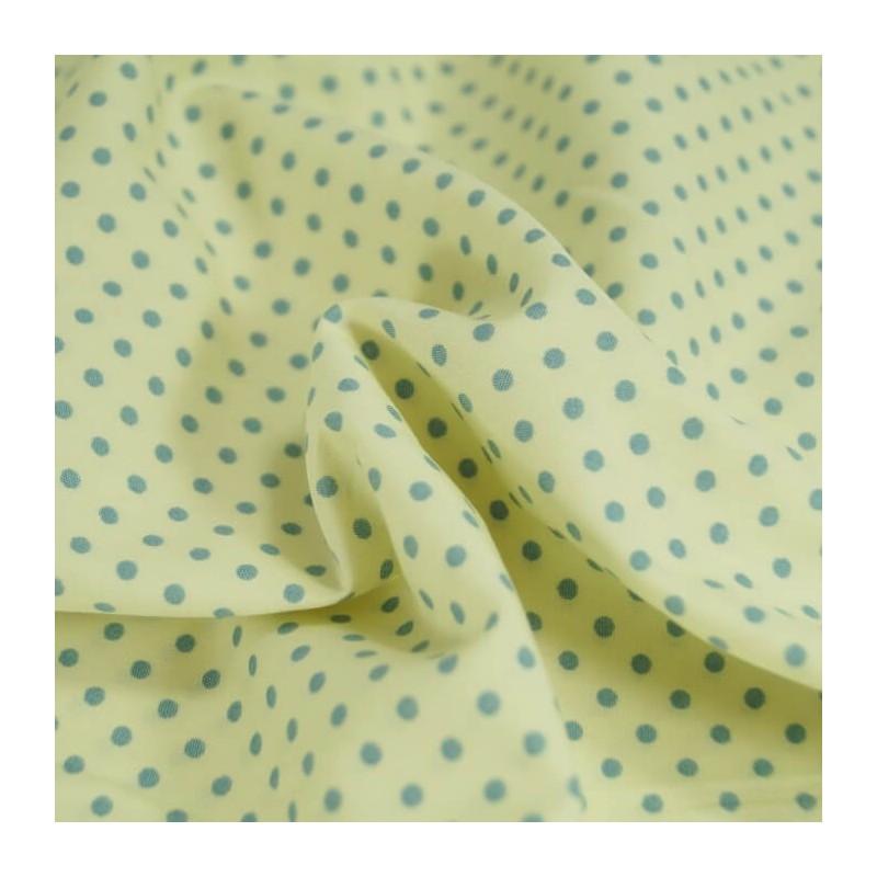 Pale Blue 100% Poplin Cotton Fabric Rose & Hubble 3mm Polka Dots Spots
