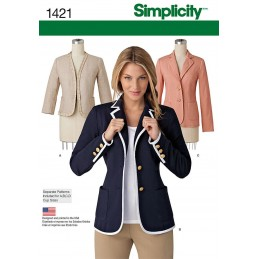 Misses Jacket with Collar and Finishing Variations Sewing Patterns 1421