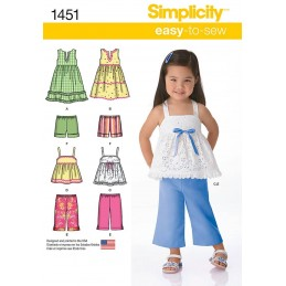 Toddlers Dresses, Top, Cropped Pants and Shorts Simplicity Sewing Pattern 1451