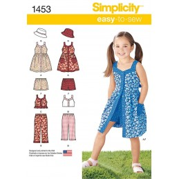 Childs Dress with Bodice and Sleeve Variations Simplicity Sewing Pattern 1453