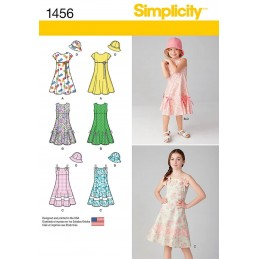 Childs and Girls Dress with Bodice Variations & Hat Fabric Sewing Patterns 1456