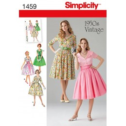 Simplicity Sewing Pattern 1459 Misses & Miss Petite 1950s Vintage Dress Fabric