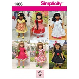 "Vintage Style 18"" Doll Clothes Simplicity Craft Sewing Patterns 1486"