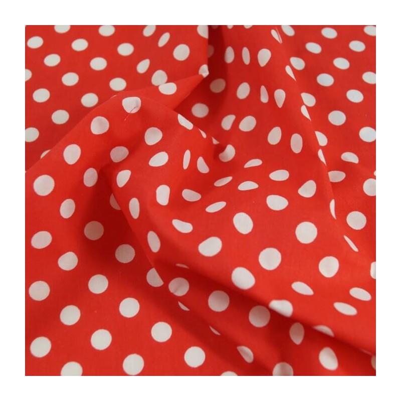 Red Polycotton Fabric 10mm Polka Dots Spots Spotty