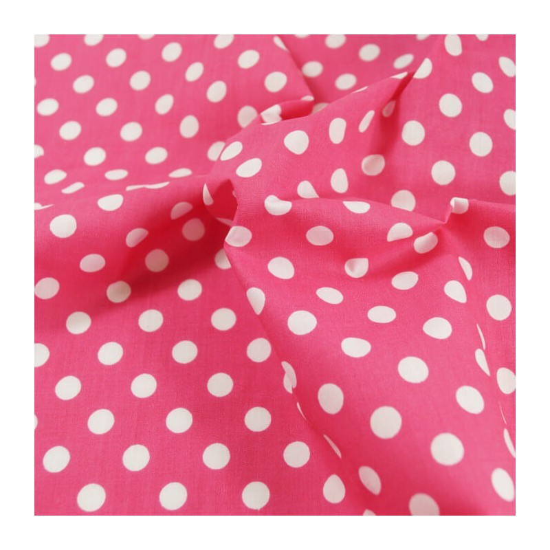 Cerise Polycotton Fabric 10mm Polka Dots Spots Spotty