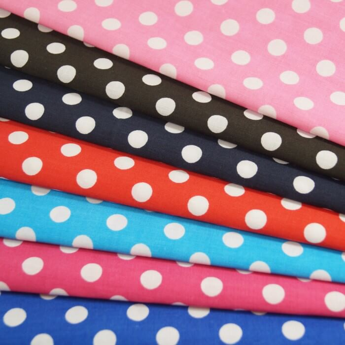 Pink Polycotton Fabric 10mm Polka Dots Spots Spotty