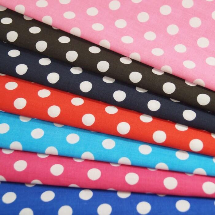 Pink Polycotton Fabric 10mm Polka Dots Spots Spotty