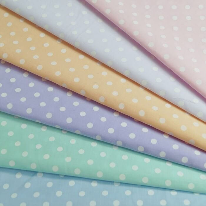 White Polycotton Fabric 5mm Pastel Polka Dots Spots Spotty