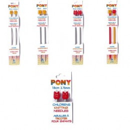 Childrens Pony Knitting Needles Pins: 18cm 3.25mm - 4.50mm