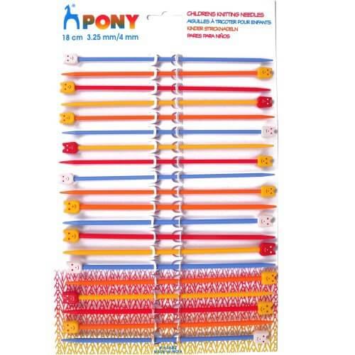 Pony 18cm Assorted Set Childrens Plastic Knitting Needles