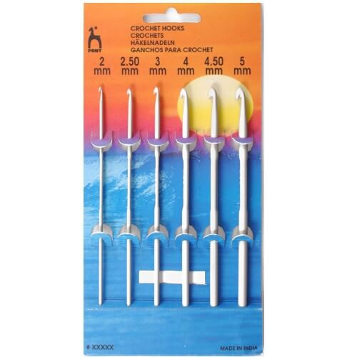Pony 15cm Aluminium Crochet Hooks: 6 Set of 2 - 5mm