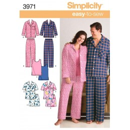 Misses' & Men's Plus Size Sleep Scrubs Lounge Wear Fabric Sewing Pattern 3971