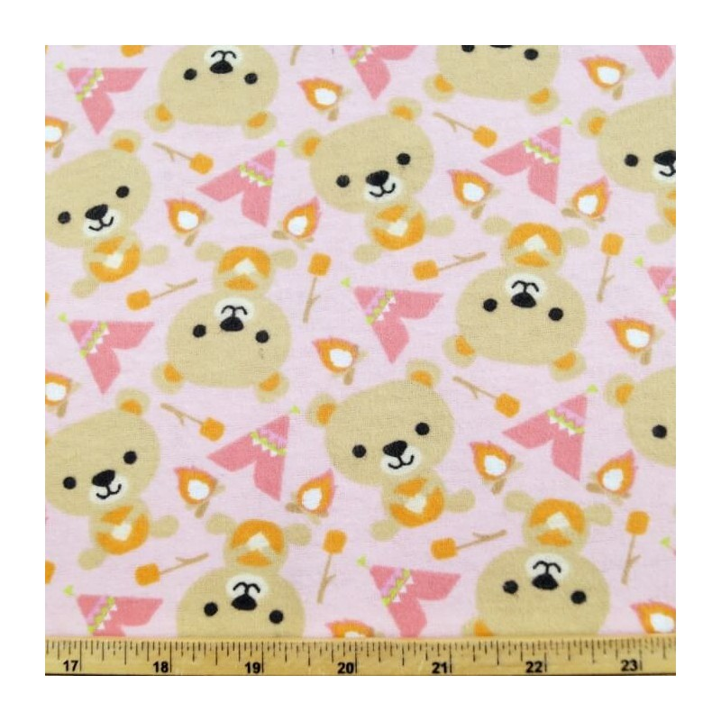 Bears Day Out Camping Roasting Marshmallows 100% Cotton Fabric Flannel
