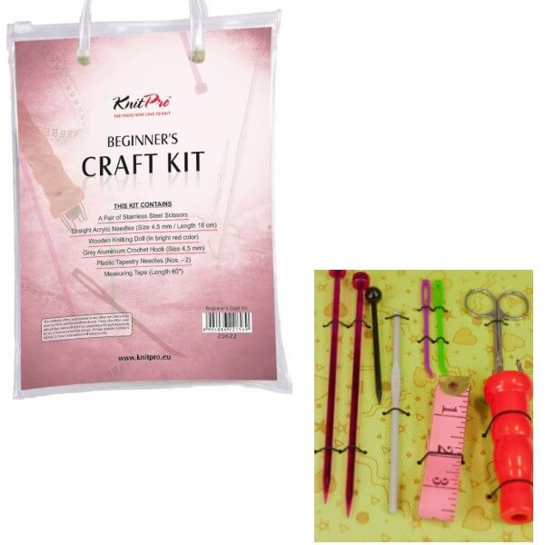 KnitPro Beginner's Craft Kit Set Scissors Needles Spool