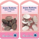 Hemline 6 x Jeans Buttons Silver Or Bronze Repair No Sewing