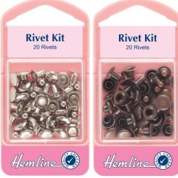 Hemline 20 x 7mm Jeans Rivet Kit Silver Or Bronze Repair