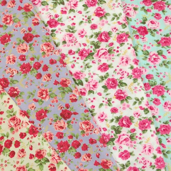 Sky Polycotton Fabric Ditsy Floral Pink Roses Flowers