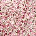 White Polycotton Fabric Ditsy Floral Pink Roses Flowers