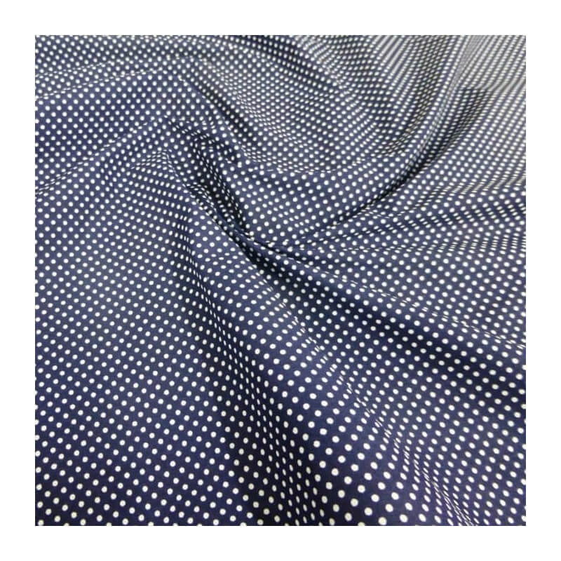 Polycotton Fabric 2mm Polka Dots Spots Dress Craft Navy