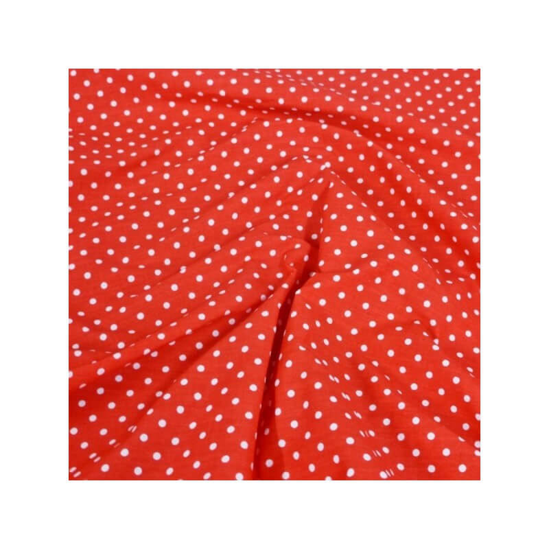 Polycotton Fabric 2mm Polka Dots Spots Dress Craft Red