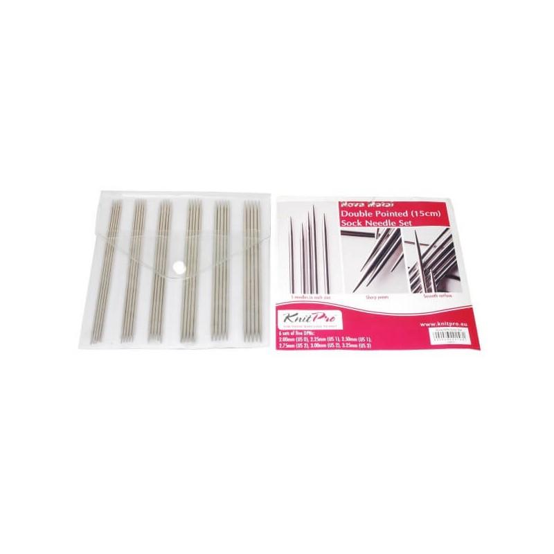 15cm KnitPro Nova Metal DPN / Double Pointed Sock Needle Set