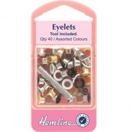 Hemline 40 x 5.5mm Eyelets with Tool