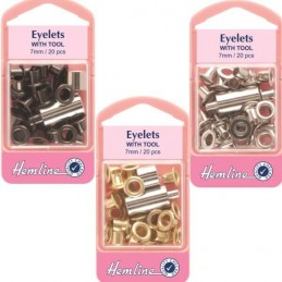 Hemline 20 x 7mm Eyelets with Tool
