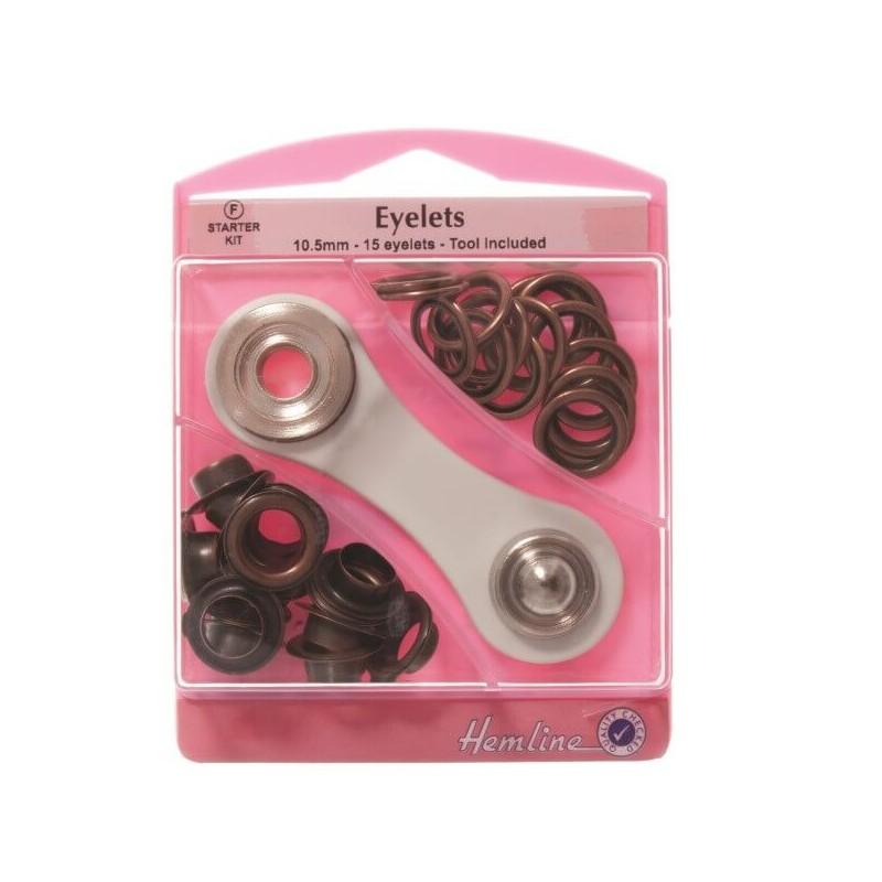 Hemline 15 x 10.5mm Eyelets with Tool Starter Kit