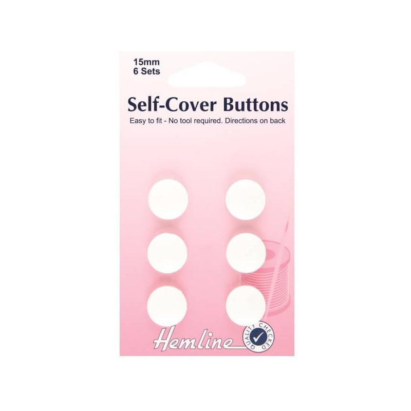 Hemline Self Cover Buttons: Plastic Top