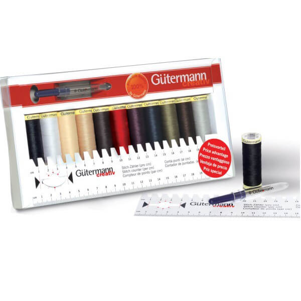 Gutermann Thread Set Sew-All 11 x 100m & Ruler & Mini Seam-Fix Assorted
