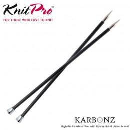 35cm Karbonz Brass Tip Knitting Needles Single Pointed Pins Carbon Fibre