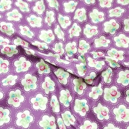 Purple 100% Cotton Fabric Lifestyle Roses Dainty Flowers