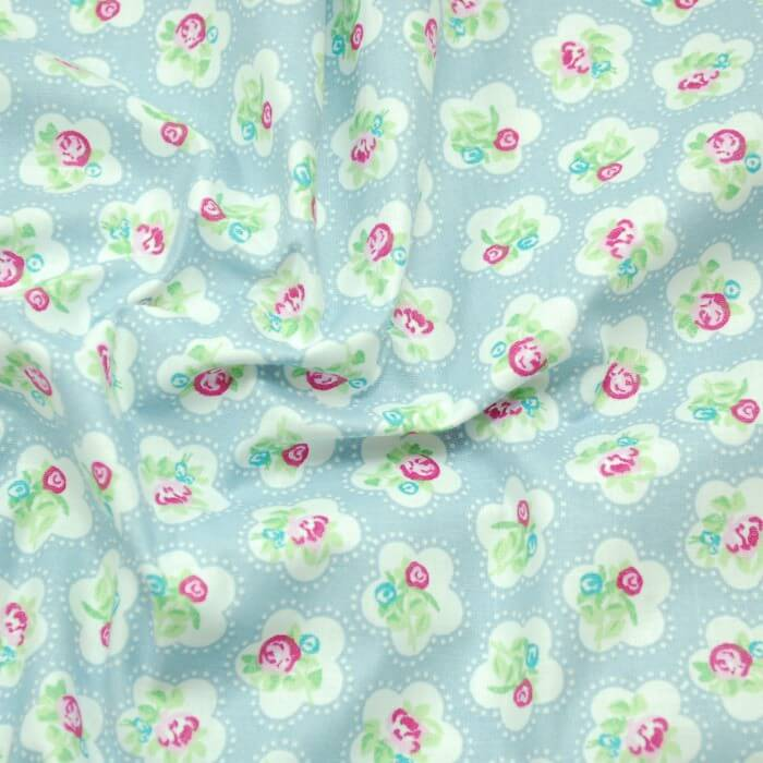 Sky Blue 100% Cotton Fabric Lifestyle Roses Dainty Flowers