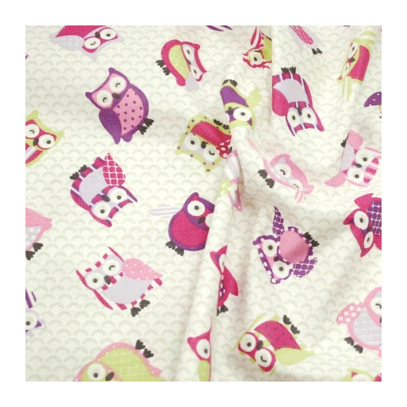 Purple 100% Cotton Fabric Lifestyle Toot Owls