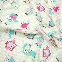 Teal 100% Cotton Fabric Lifestyle Toot Owls